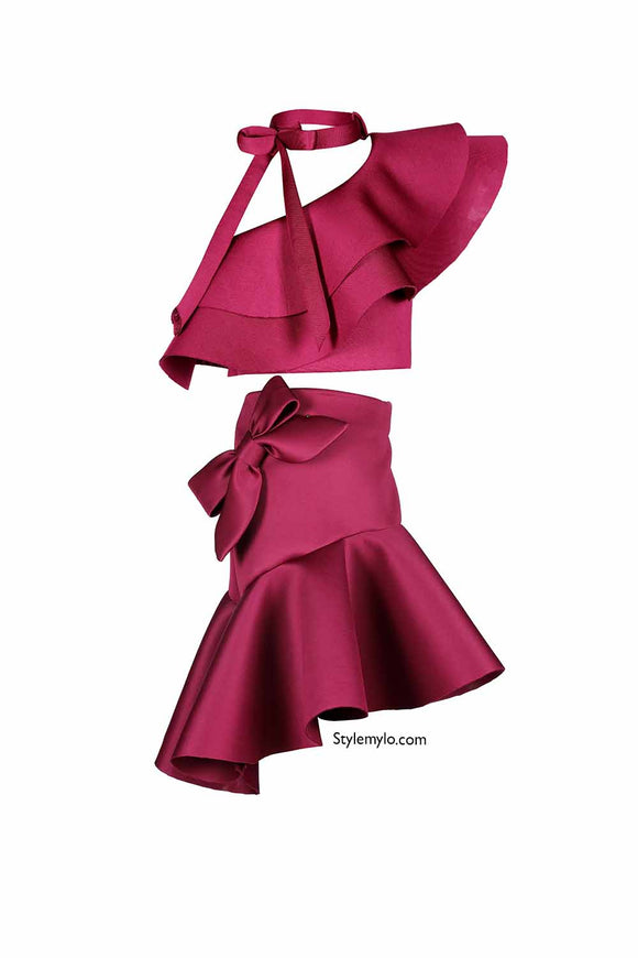 Burgundy Bow Knot Ruffle Crop Top With Bow Skirt