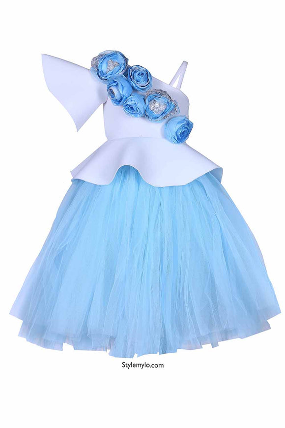 White Floral Peplum Corset With Blue Tutu Skirt