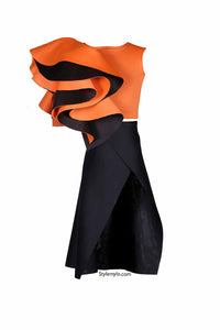 Rust One Shoulder Ruffle Crop Top With Black Side Slit Skirt