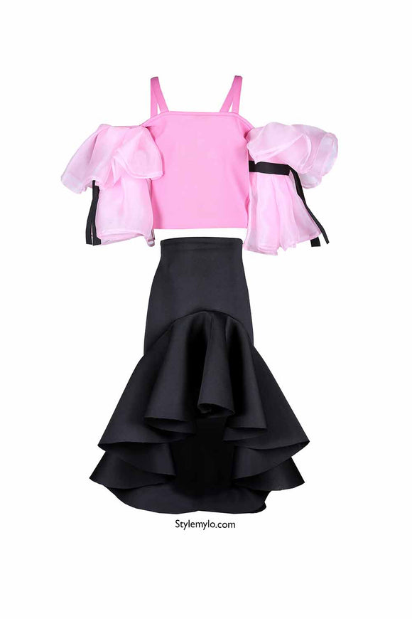 Pink Crop Top With Black Ruffle Skirt