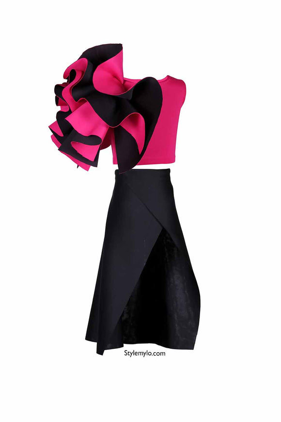 Hot Pink One Shoulder Ruffle Crop Top With Black Side Slit Skirt