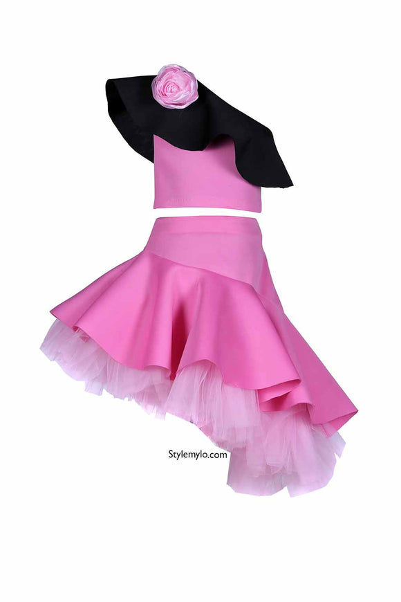 Pink Rose Crop Top With Side Ruffle Skirt