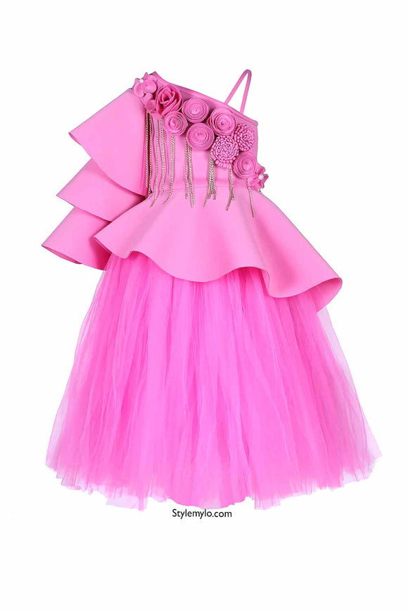Pink Triple Layered Sleeves Floral Peplum Corset With Long Tutu Skirt