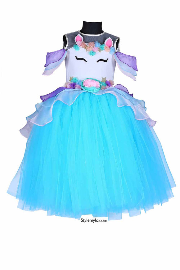 Blue Unicorn Tutu Gown