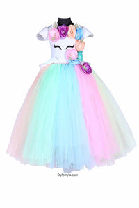 Multicolor Unicorn Tutu Gown