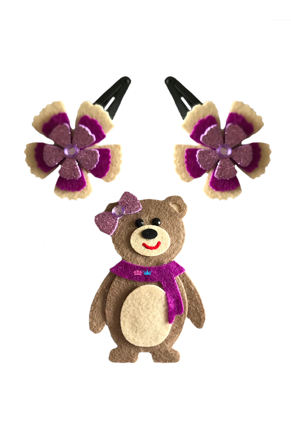 Ms teddy theme hair clip