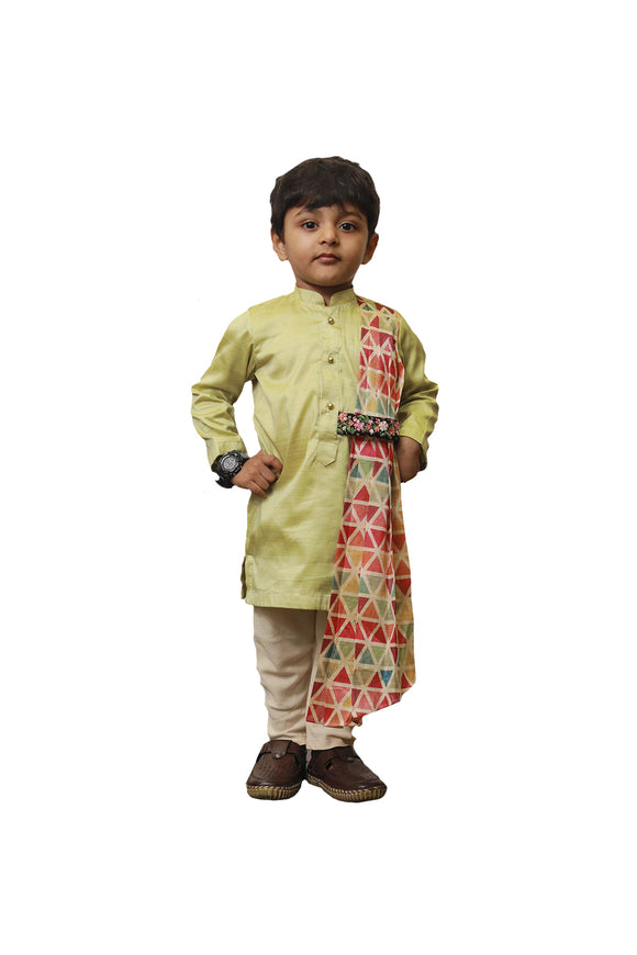 Green Triangle Drape Kurta with Churidar