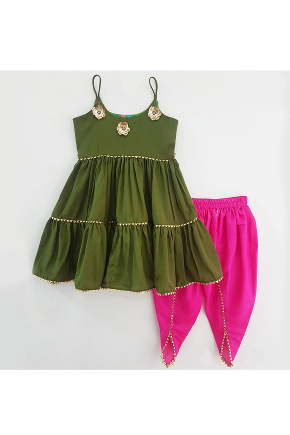 Olive green kurti and hot pink dhoti! Designer Salwar Suit Sets for Baby Girls, Designer Ethnic wear for Girls, Designer Indian wear for Girls, Designer Kurta Dhoti for Baby Girls, Designer Kurta Sharara Sets for Baby Girls, Designer Kurta Garara Sets for Baby Girls, Designer Anarkali Suits for Girls
