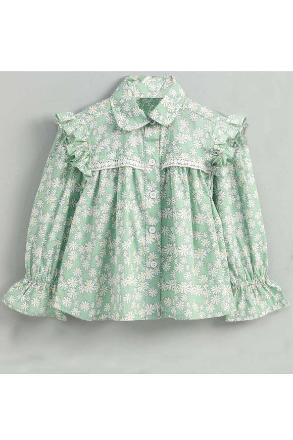 Light green floral print ruffle detailed top! smart casual tops, designer tops and bottoms, designer peplum top, casual tops and bottoms for girls