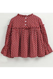 Maroon polka dot print full sleeves top! smart casual tops, designer tops and bottoms, designer peplum top, casual tops and bottoms for girls