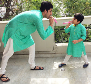 Turquoise/lime yellow kurta for Son