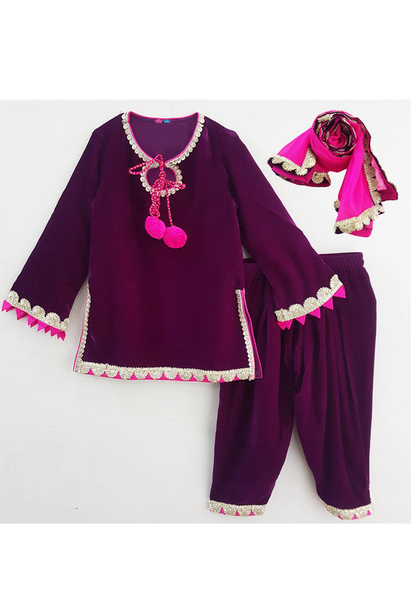 Purple velvet kurti and patiala with pink dupatta! Designer Ethnic Wear For Girls, Designer Ethnic Wear For Baby Girl, Latest Ethnic Wear For Girl, Designer Lehenga Wear for Girls, Designer Indian Wear for Girls, Designer Salwar Suit for Baby Girls, Ethnic Wear for Baby Girl, Designer Indo Western Wear for Girls