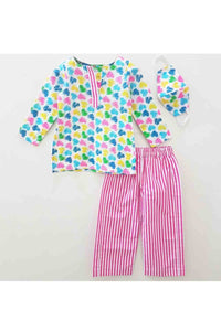 Multicolor heart shape print night suit with mask