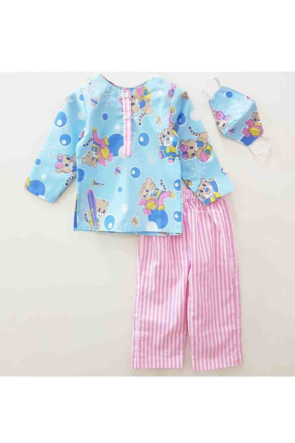 Light blue lion print night suit with mask