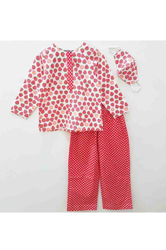 Red polka dot print night suit with mask