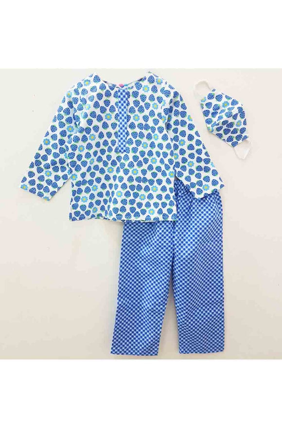 Polka dot print night suit with mask