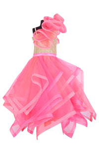 Multilayered Neon Feasta Gown
