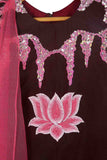 Embroidered Top with attached dupatta and draped lehenga