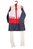 Festive Flora Two Toned Jacket with Kurta-Tomato and Ivory with Steel Blue