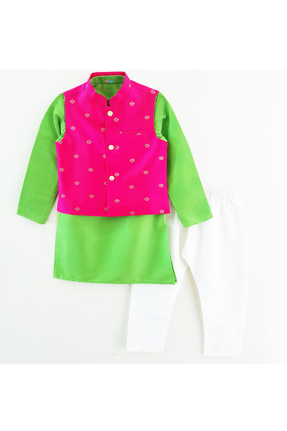 Hot pink jacket with kurta and pyjama! Stylemylo offers a wide range of Designer Indian wear for Boys, Ethnic wear for boys, Kurta pyjama for boys, Kids kurta pyjama set, Dhoti set for boys, Designer Dhoti Kurta, Online Dhoti Kurta set, Designer Dhoti kurta for boys.