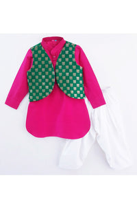 Fuchsia pink kurta with green open jacket and ptiala! Stylemylo offers a wide range of Designer Indian wear for Boys, Ethnic wear for boys, Kurta pyjama for boys, Kids kurta pyjama set, Dhoti set for boys, Designer Dhoti Kurta, Online Dhoti Kurta set, Designer Dhoti kurta for boys.