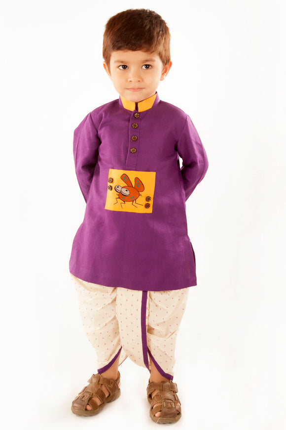 Purple kurta with bug motif and dhoti