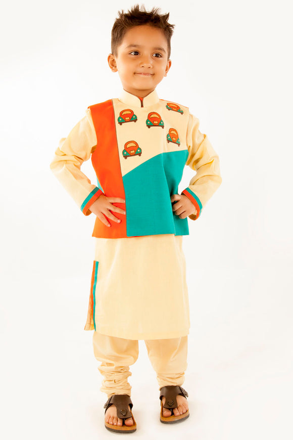 Three colour car jacket set with kurta and churidar