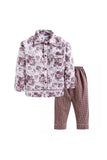 Brown Floral Checks Print Sleepwear
