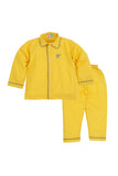 Yellow With Grey Piping Nightwear