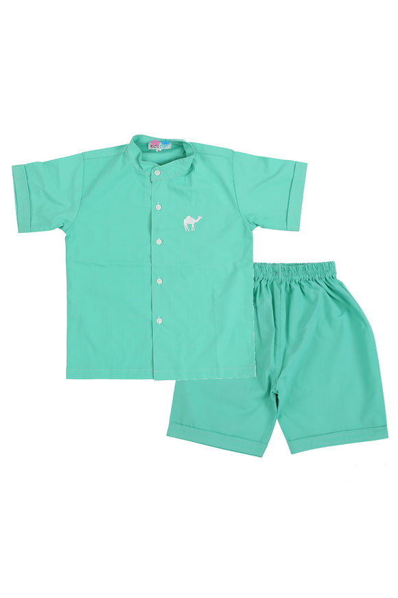Green Color Shirt With Shorts Nightwear