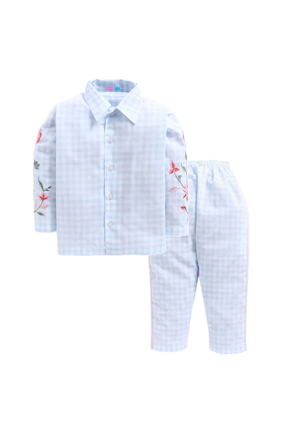 Light Blue Check With Floral Embroidery on Arms Nightwear