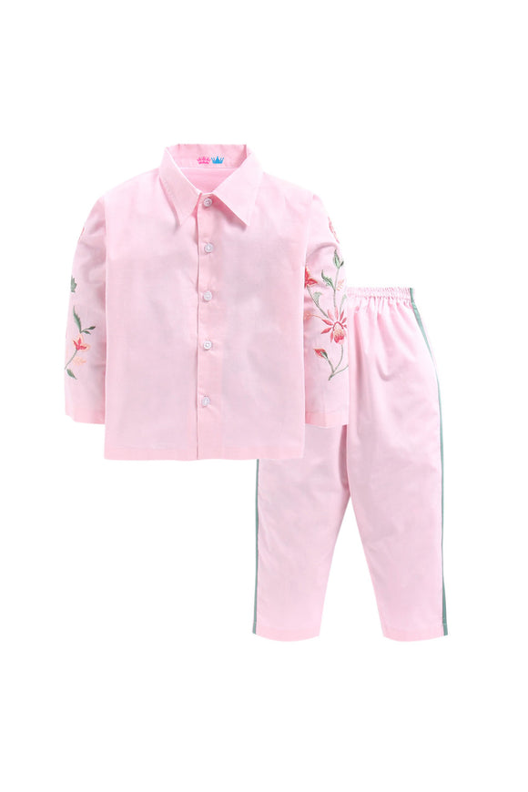 Baby pink With Floral Embroidery On Arms