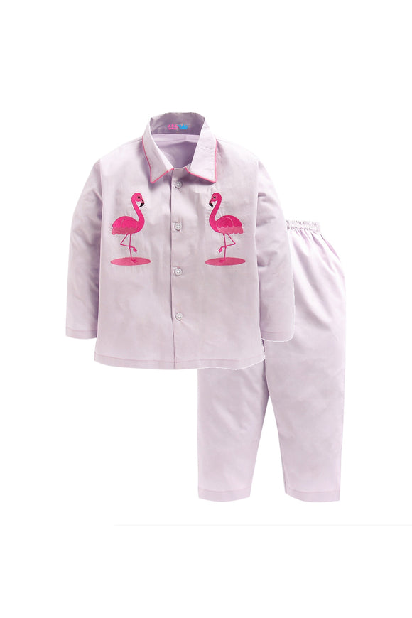 Light Grey With Pink Flammingo Embroidery Nightwear
