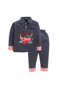 Navy Polka Dotted Airplane Nightwear
