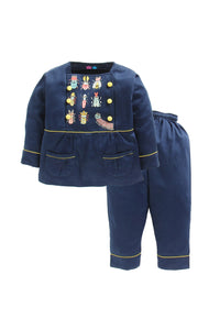 Navy Insects Embroidered  Nightwear