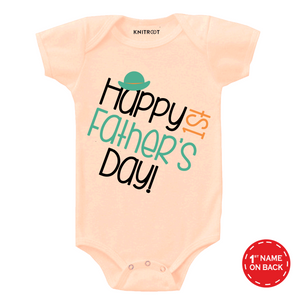 Peach 1st father's day cap onesie