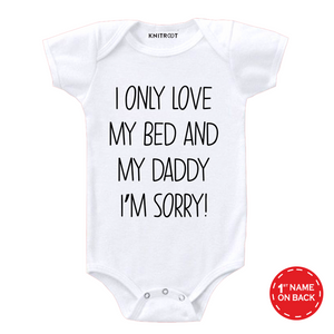 White i love my daddy father's day onesie