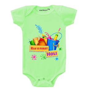 Personalised my first holi baby romper