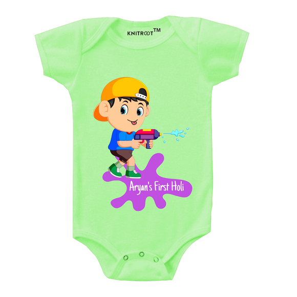 Personalised my first holi gun baby romper
