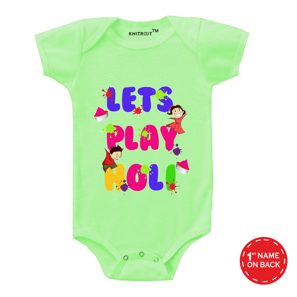 Personalised lets play holi baby romper