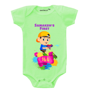 Personalised boy first holi baby romper