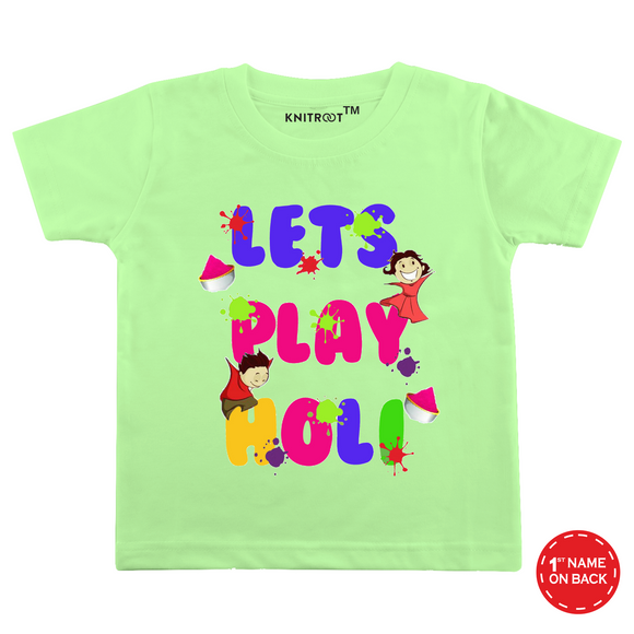 Personalised let's play holi t-shirt