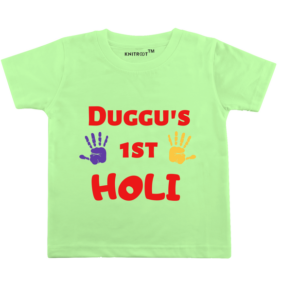 Personalised duggu's first holi hand t-shirt