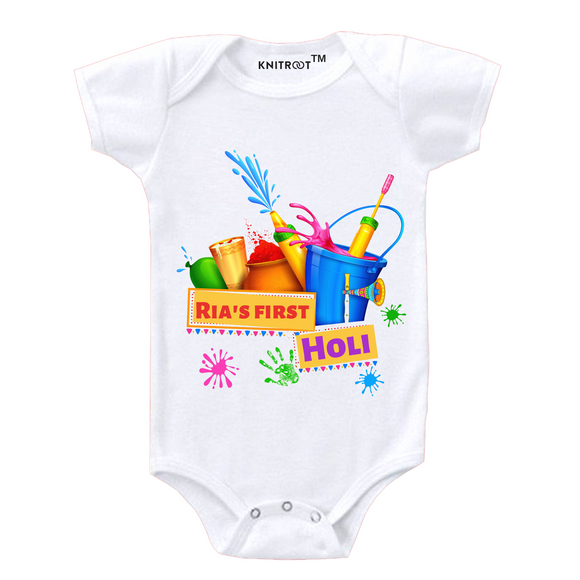 Personalised white my first holi baby romper