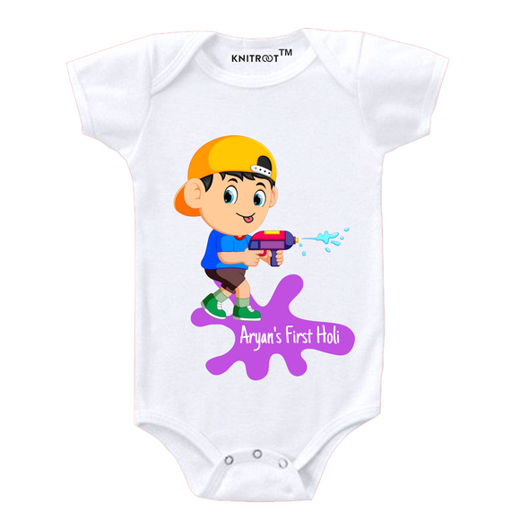 Personalised white my first holi gun baby romper