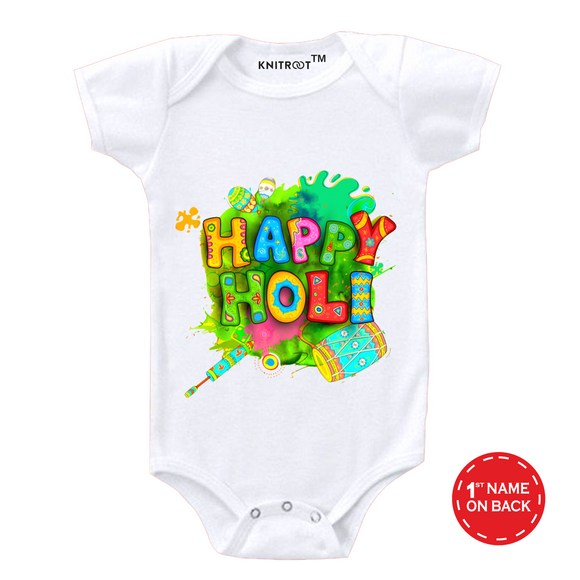 Personalised white happy holi baby romper