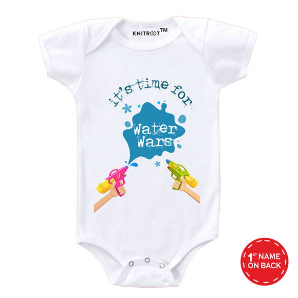 Personalised white it's time for water wars baby romper