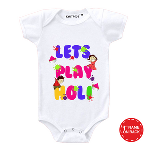 Personalised white lets play holi baby romper