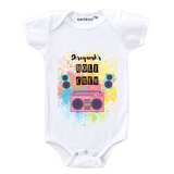 Personalised white the holi crew baby romper