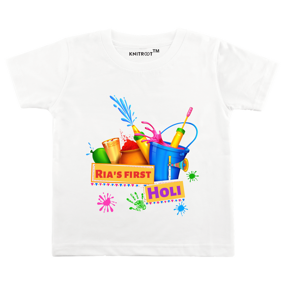 Personalised white my first holi t-shirt